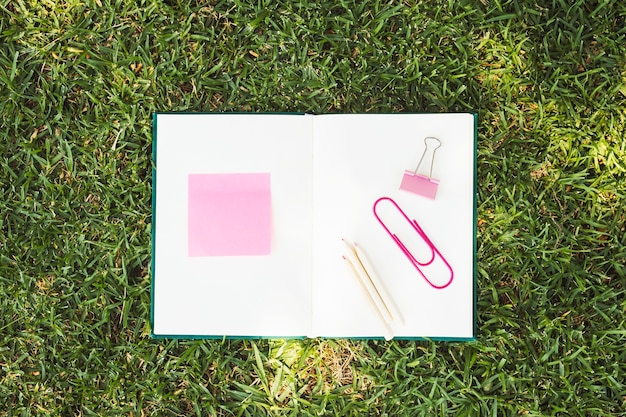 Opened notebook with pink stationery