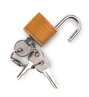Opened padlock and keys isolated