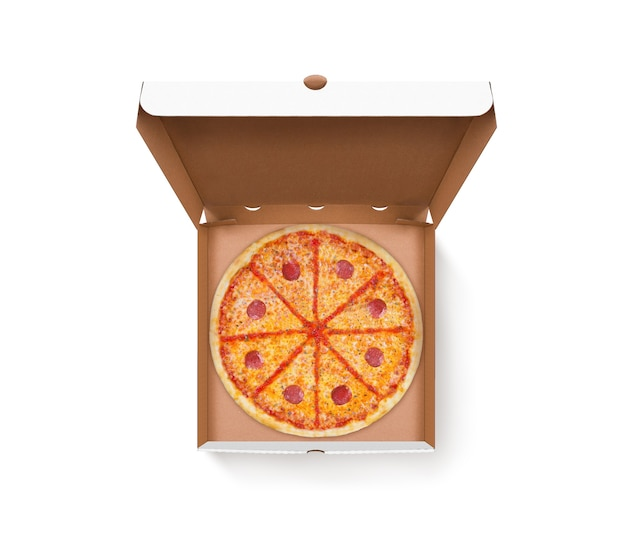 Opened pizza box with tasty pizza design mock up top view isolated