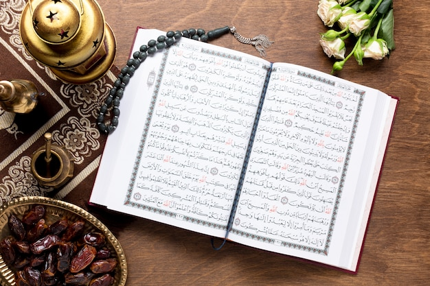 Opened quran and islamic items