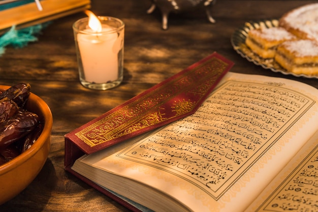 Opened quran near candle and sweet dates