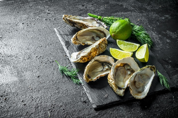 Opened raw oysters on black stone board with lime and dill on rustic table