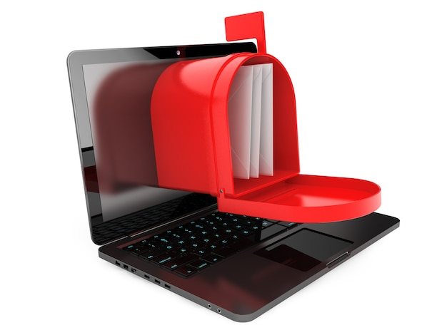 흰색 배경에 노트북 화면 위에 빨간색 메일 상자를 열었습니다.