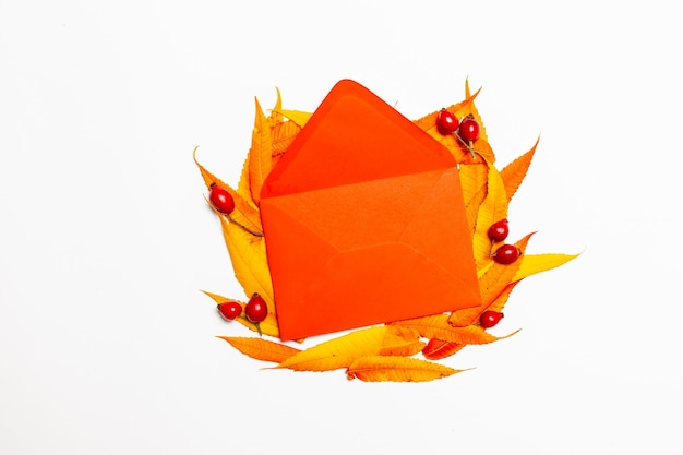 Opened red paper envelope with yellow red leaves