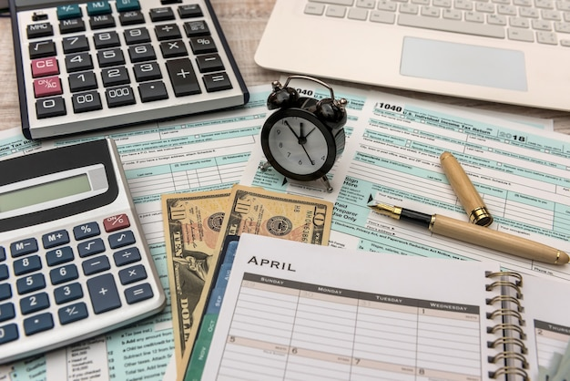 Opened schedule with note on april tax day deadline