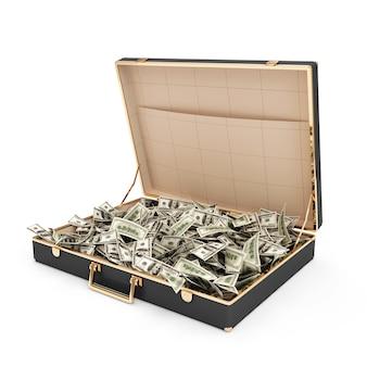 Открытый чемодан с кучей долларовых купюр внутри, изолированные на белом