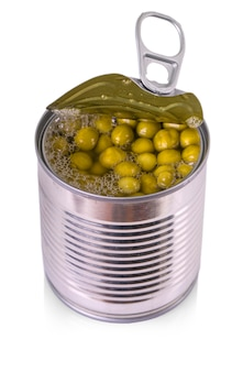 Opened tin with green peas. isolated