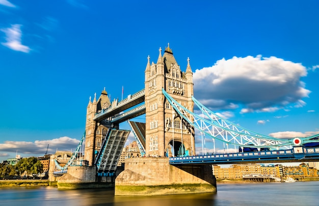 Opened tower bridge across the thames river in london, england