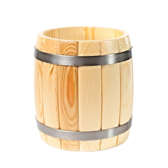 Opened wooden barrel isolated on white