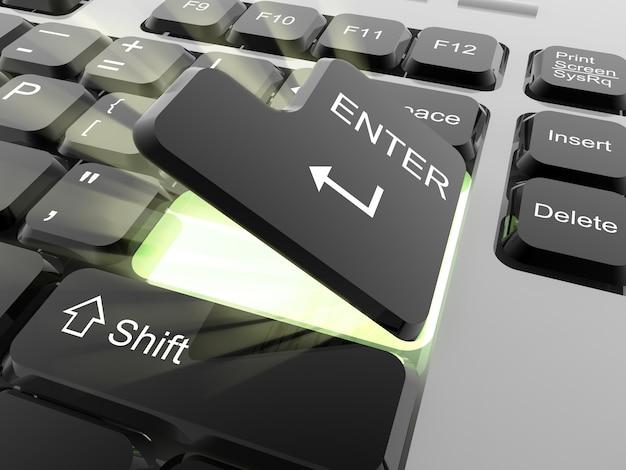 Enterキーを開く -  3dレンダリング