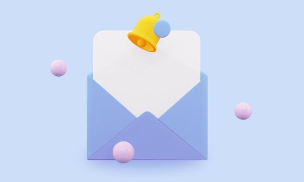 알림이 있는 봉투를 엽니다. 3d 렌더링.