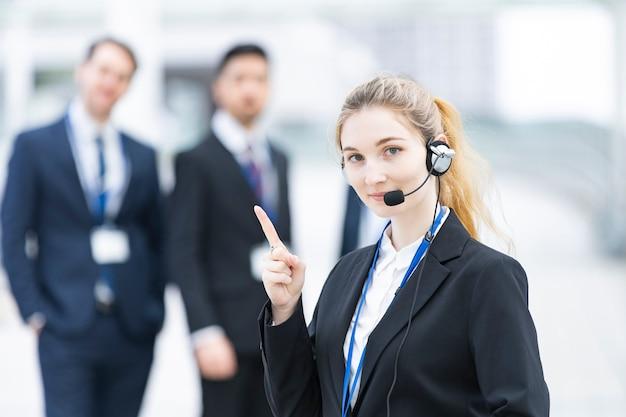 Operator wearing headset
