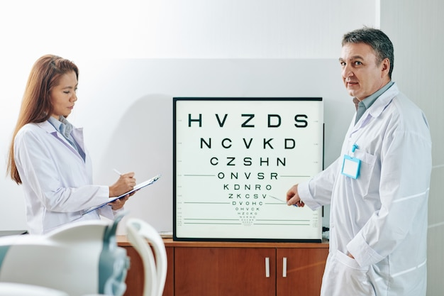 Ophthalmologist asking patient to name letters on test chart, when nurse taking notes in medical card