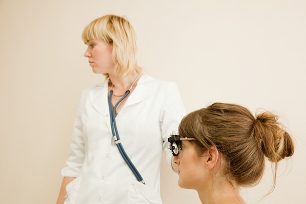 Ophthalmologist  and patient