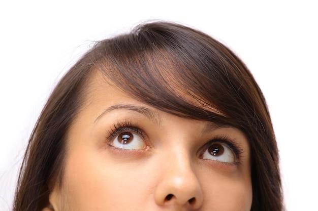 Мнение офиса сотрудника молодая девушка, изолированные на белом фоне