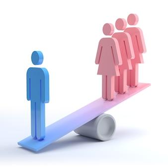 Угнетенная женщина, феминизм и концепция дискриминации. 3d рендеринг