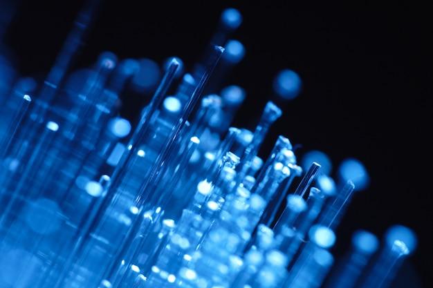 광섬유 네트워크 케이블 초록 빛 향 프리미엄 사진