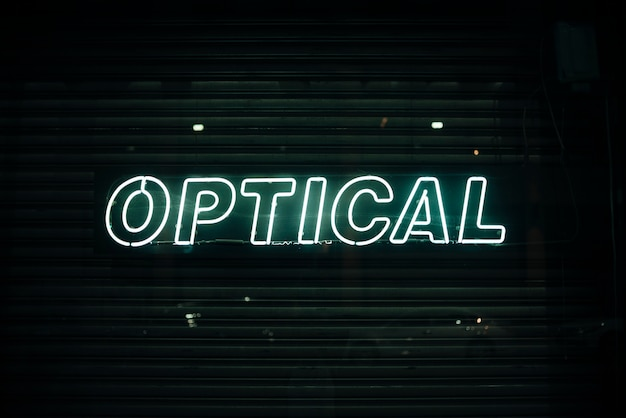 Optical sign in neon lights