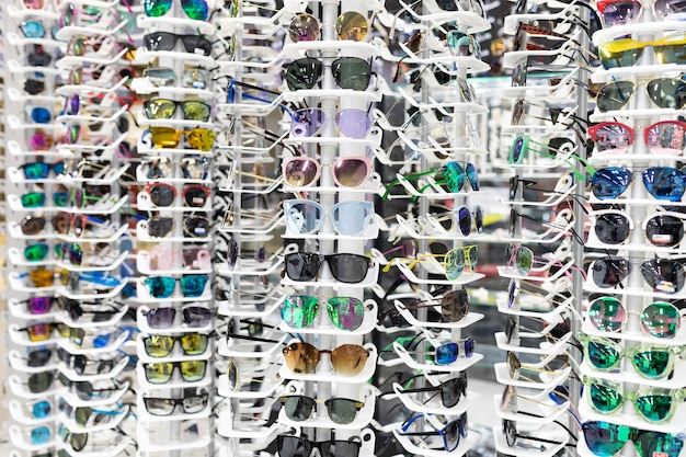 Optics showcase with glasses for vision with a large selection of frames