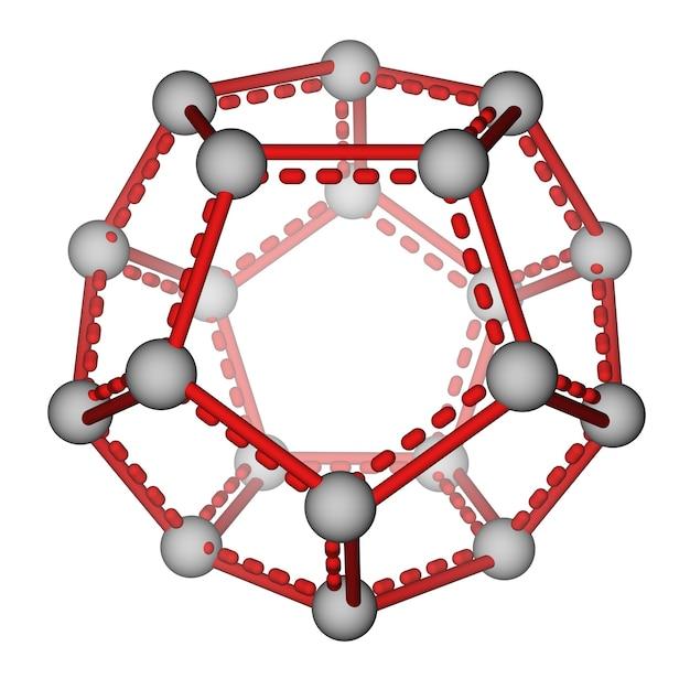 白い背景上のフラーレンc20の最適化された分子構造