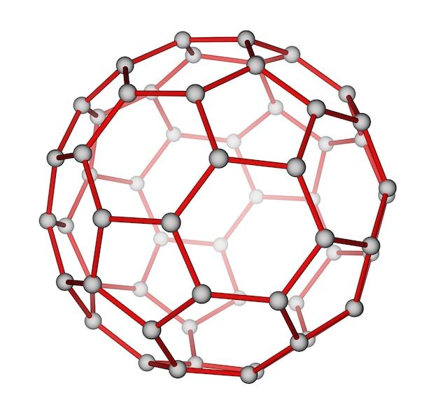 白い背景の上のフラーレンc60の最適化された分子構造