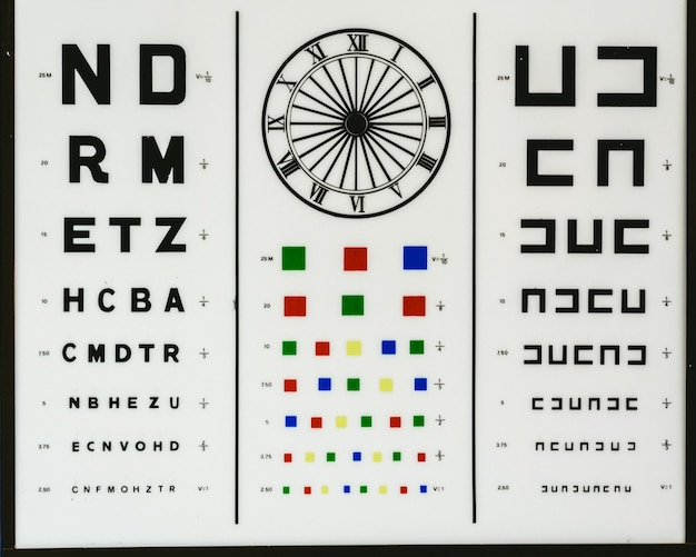 Optometric chart to control vision problems such as myopia, hyperopia, color blindness or astigmatism in an optical clinic.