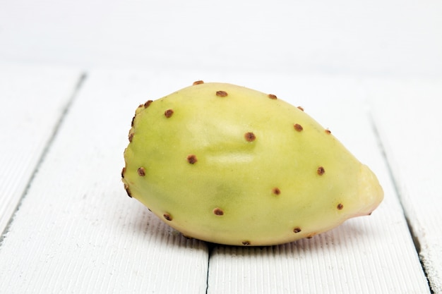 Opuntia ficus-indica cactus fruit on a white background