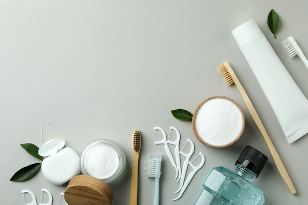 Oral care accessories on gray