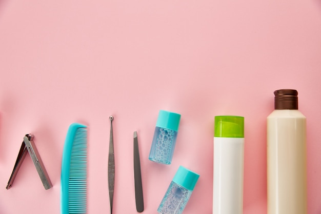 Oral care products. morning healthcare procedures concept, toothcare, different toothbrushes and toothpaste