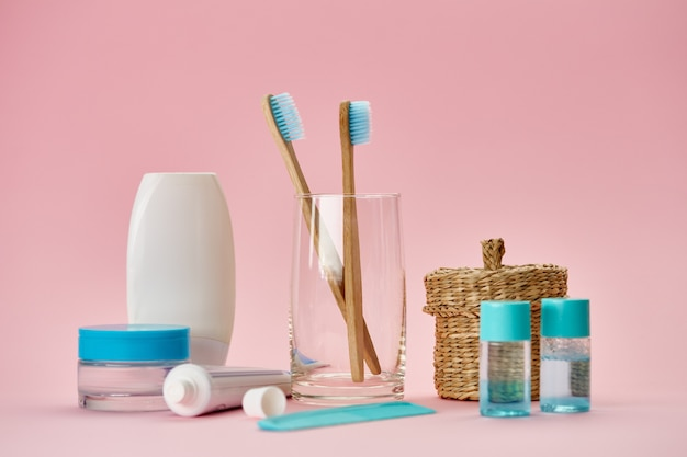 Oral care products, two toothbrush and toothpaste, macro view. morning healthcare procedures concept