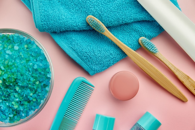 Oral and skin care products. morning healthcare and toothcare procedures concept, hygiene tools