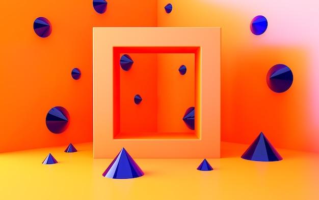 오렌지 추상 기하학적 모양 그룹 집합, 최소한의 추상 배경, 3d 렌더링, 기하학적 형태의 장면