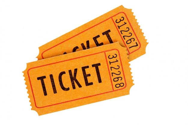 Orange admission tickets fully isolated on white