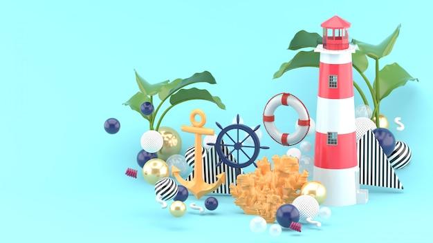 Оранжевый якорь, боа и маяк среди разноцветных шариков на синем. 3d визуализация.