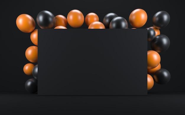 黒板の周りの黒いインテリアのオレンジと黒の風船。 3dレンダリング
