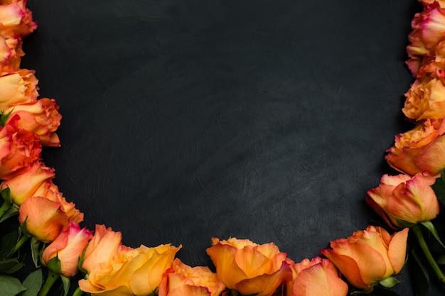오렌지와 레드가 장미 어두운 배경. 깊은 감정과 상쾌함의 상징. 부정적인 공간 개념