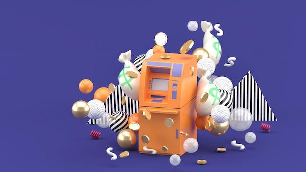Оранжевый банкомат среди денег и разноцветные шарики на фиолетовом. 3d-рендеринг.