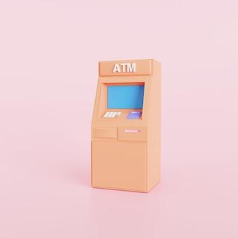 오렌지 atm 기계 비즈니스 기술 개념, 추상 만화 스타일, 3d 렌더링 그림