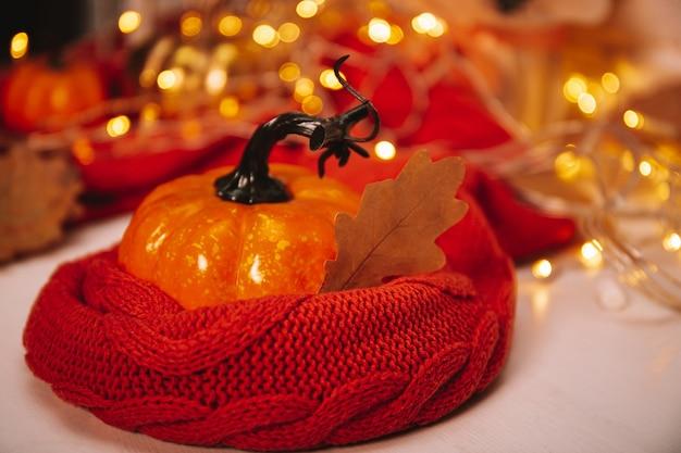 Оранжевая осенняя тыква в шарфе с красивым боке фото с копией пространства для текста