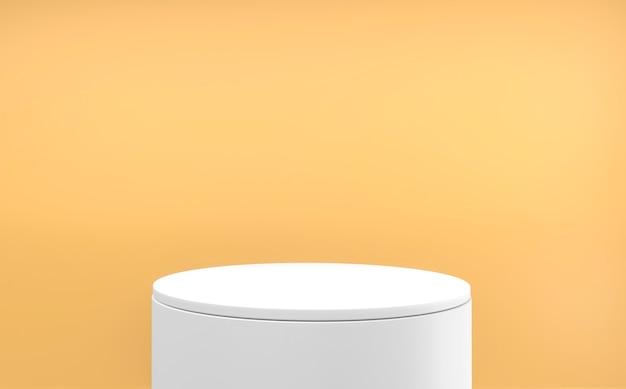 오렌지 배경과 최소한의 흰색 연단. 3d 렌더링
