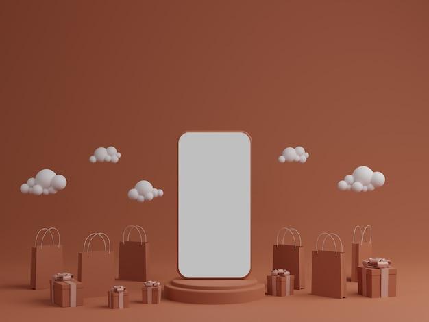 Оранжевый фон с пустым белым экраном мобильного макета, подарочной коробкой и сумкой для покупок
