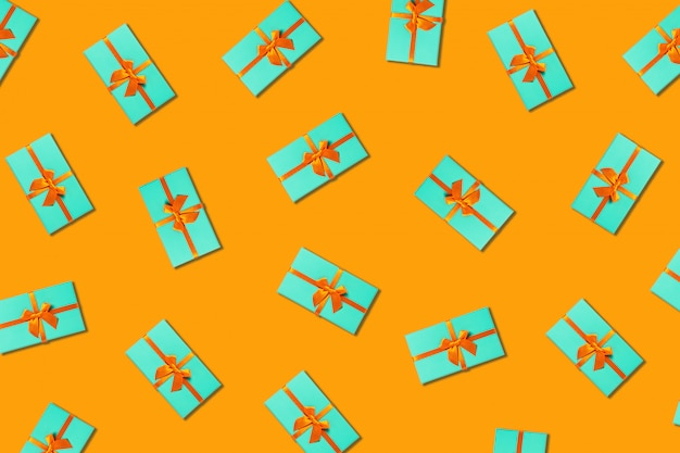 Orange background with mint boxes.