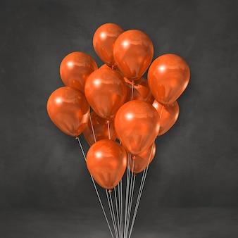 Orange balloons bunch on a black wall background. 3d illustration render