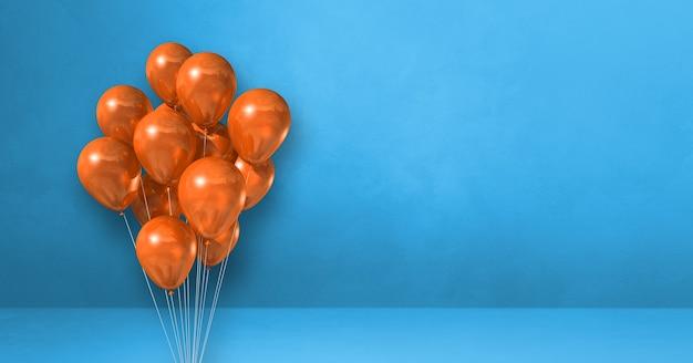 파란색 벽 배경에 오렌지 풍선 무리입니다. 가로 배너입니다. 3d 그림 렌더링