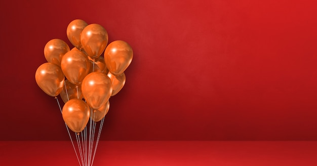 Orange balloons bunch on a red wall background. horizontal banner. 3d illustration render