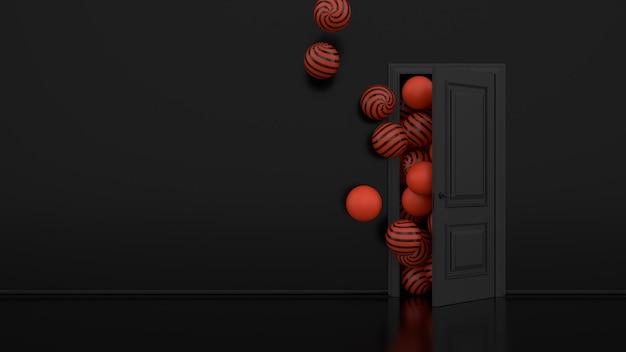 Оранжевые воздушные шары улетают через открытую дверь в офисе interio