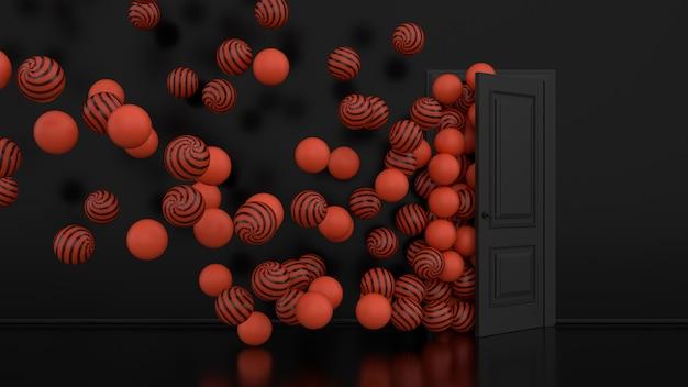 Оранжевые воздушные шары улетают через открытую дверь в интерьере офиса