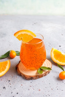 Orange basil seed drink.