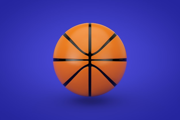 Orange basketball ball on a blue background. 3d rendering