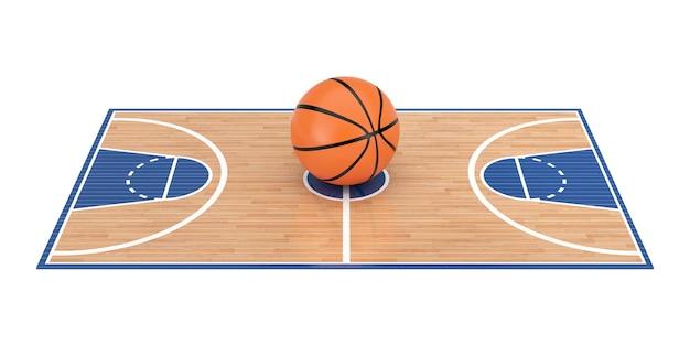 Оранжевый баскетбольный мяч в центре деревянного пола баскетбольной площадки с линиями на белом фоне. 3d рендеринг